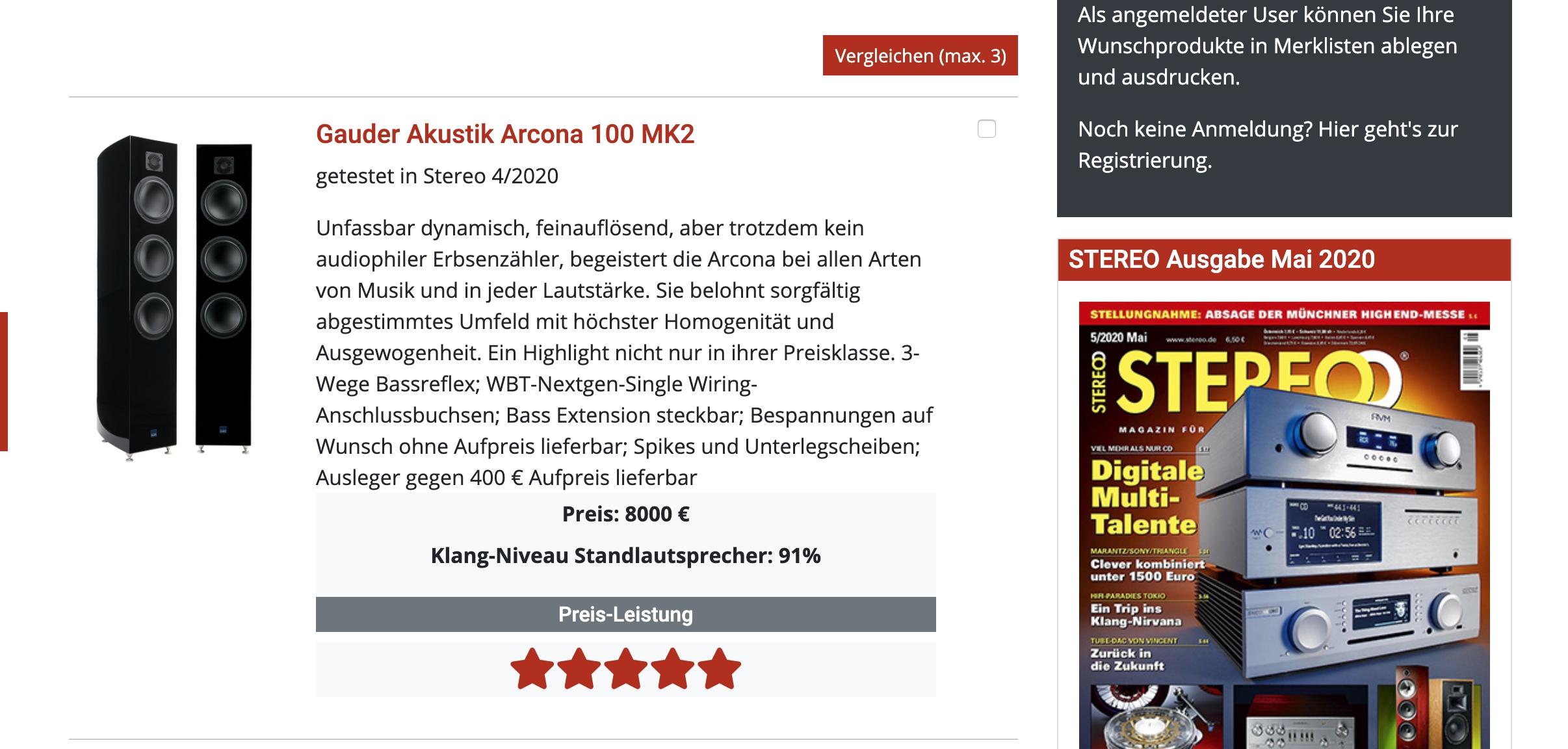 Сенсация! Выдающийся тест GauderAkustik Arcona 100 MKII в журнале Stereo(Германия)